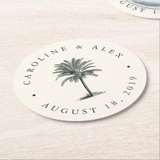 Havana Palm Wedding Round Paper Coaster