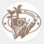 Havana Stamp Round Stickers