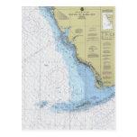 Havana to Tampa Bay Florida Nautical Chart Postcar Postcards