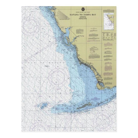 Havana To Tampa Bay Florida Nautical Chart Postcar Postcard