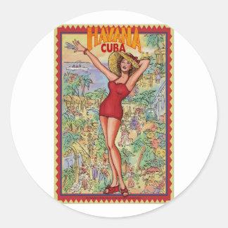 Havana woman: Vintage Cuban Havana Classic Round Sticker