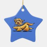 Havanese Blue Polka Dots Christmas Ornaments
