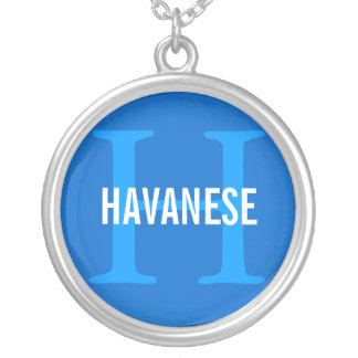 Havanese Breed Monogram Design Silver Plated Necklace