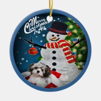 Havanese con el ornamento del navidad del muñeco adorno navideño redondo de cerámica