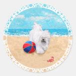 Havanese disfruta de un día en la playa etiqueta redonda