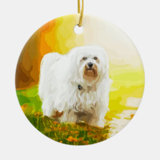 Havanese Dog Bichon Portrait Ceramic Ornament