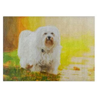 Havanese Dog Bichon Portrait Painting Cutting Board