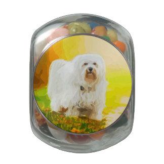 Havanese Dog Bichon Portrait Painting Glass Candy Jar