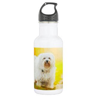 Havanese Dog Bichon Portrait Painting Stainless Steel Water Bottle