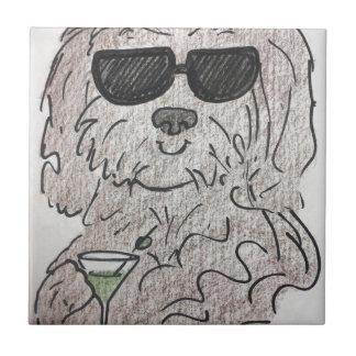 Havanese dog martini tile