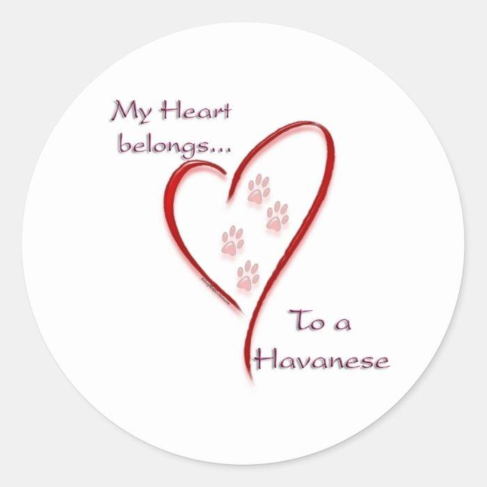 Havanese Heart Belongs Classic Round Sticker
