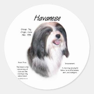 Havanese History Design Classic Round Sticker