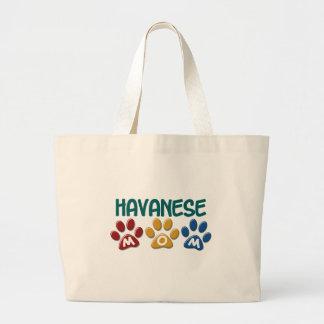 HAVANESE Mom Paw Print 1 Large Tote Bag