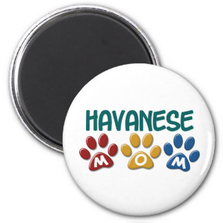 HAVANESE Mom Paw Print 1 2 Inch Round Magnet