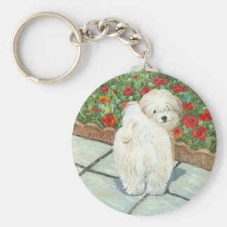Havanese n Poppies Art Print Gifts & Cards Keychains