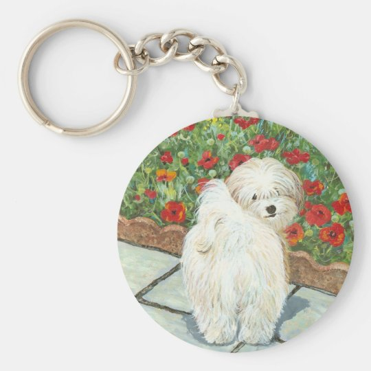 Havanese n Poppies Christmas Gifts and Cards Keychain