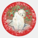 Havanese n Poppies Valentine Round Stickers