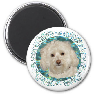 Havanese on Turquoise Water 2 Inch Round Magnet