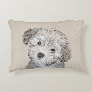 Havanese Puppy Painting - Cute Original Dog Art Decorative Pillow