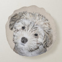 Havanese Puppy Painting - Cute Original Dog Art Round Pillow