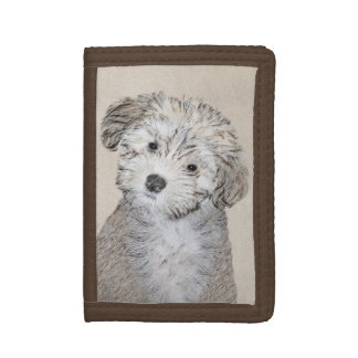 Havanese Puppy Painting - Cute Original Dog Art Tri-fold Wallet