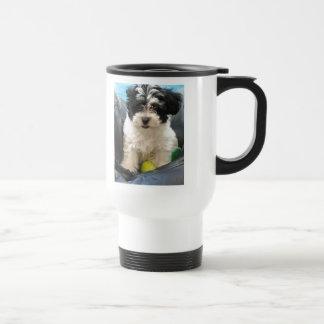 Havanese Rescue Puppy Black White Travel Mug