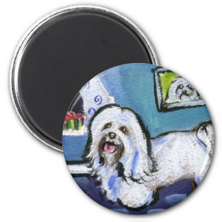 Havanese senses smiling moon 2 inch round magnet
