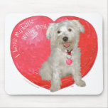 Havanese / Westie Mix Valentine's Day Mouse Pad