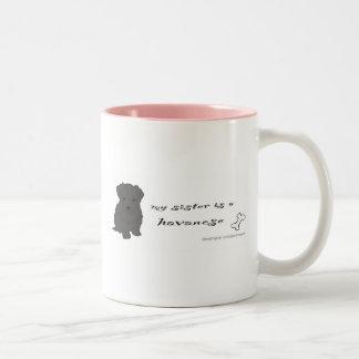 HavaneseSisterBlk Two-Tone Coffee Mug