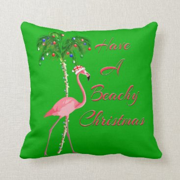 Have A Beachy Christmas Flamingo Throw Pillow
