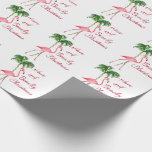 "Have A Beachy Christmas Flamingo Wrapping Paper<br><div class=""desc"">If you having a tropical Christmas this winter then you will love this funny Christmas Flamingo. If you dream of the beach during Christmas then this