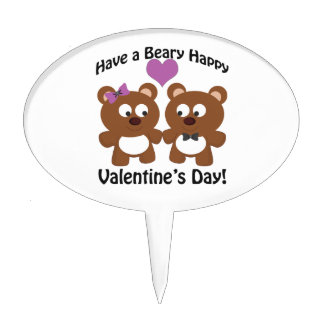 Have a Beary Happy Valentine's Day! Cake Topper