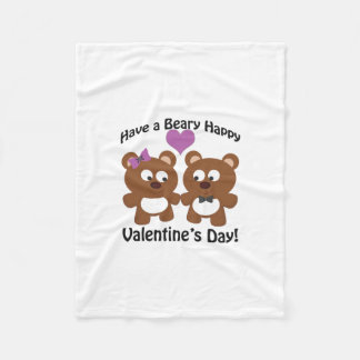 Have a Beary Happy Valentine's Day! Fleece Blanket