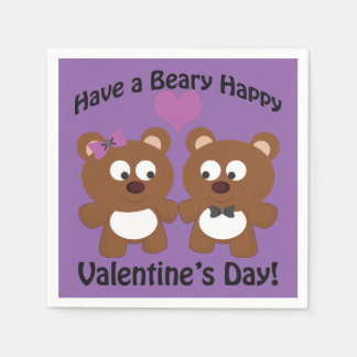 Have a Beary Happy Valentine's Day! Paper Napkin