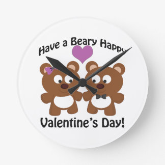 Have a Beary Happy Valentine's Day! Round Clock
