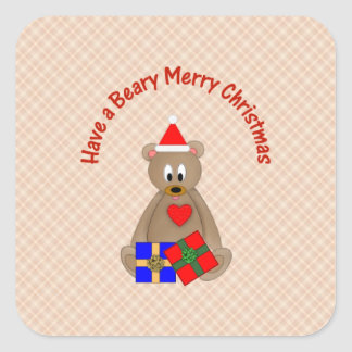 Have a Beary Merry Christmas Square Sticker
