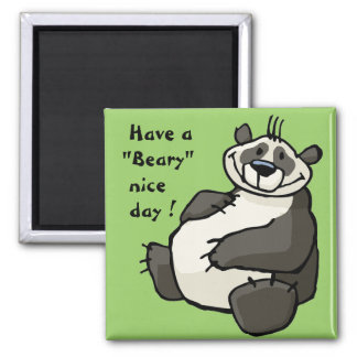 Have a beary nice day 2 inch square magnet