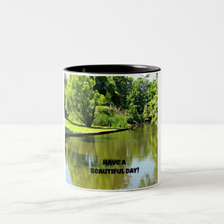 Have a beautiful day! (river view) Two-Tone coffee mug