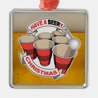 Have a Beery Christmas Beer Pong Metal Ornament