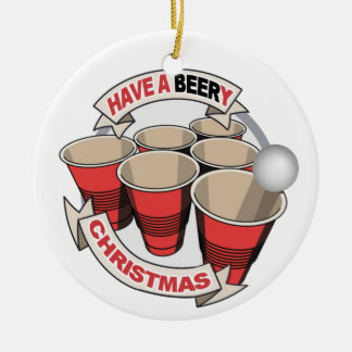 Have a Beery Christmas Beer Pong w poem. Christmas Tree Ornament