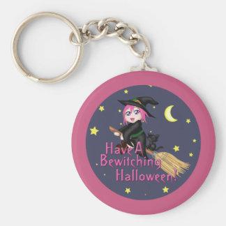 Have A Bewitching Halloween! Basic Round Button Keychain