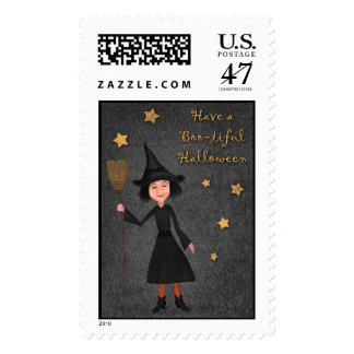 Have a Boo-tiful Halloween Witch Postage