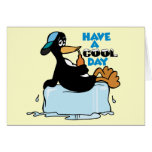Have A Cool Day ~ Penguin On Ice Word Play Greeting Card