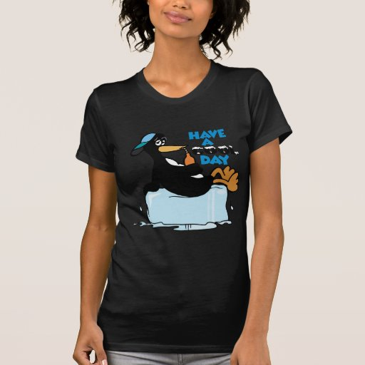 Have A Cool Day ~ Penguin On Ice Word Play Tee Shirts