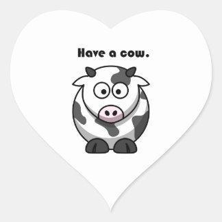 Have a Cow Dairy Holstein Cartoon Heart Sticker