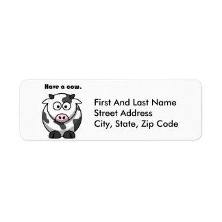 Have a Cow Dairy Holstein Cartoon Label
