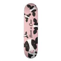 Have a Cow Pink Black Animal Illustration Skateboard