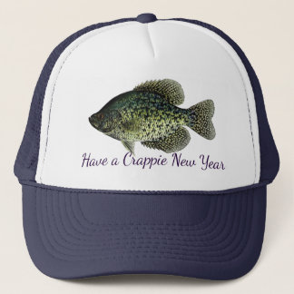 """Have a Crappie New Year"" featuring black crappie Trucker Hat"