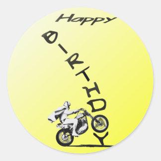 HAVE A EVEL BIRTHDAY. yellow. Classic Round Sticker