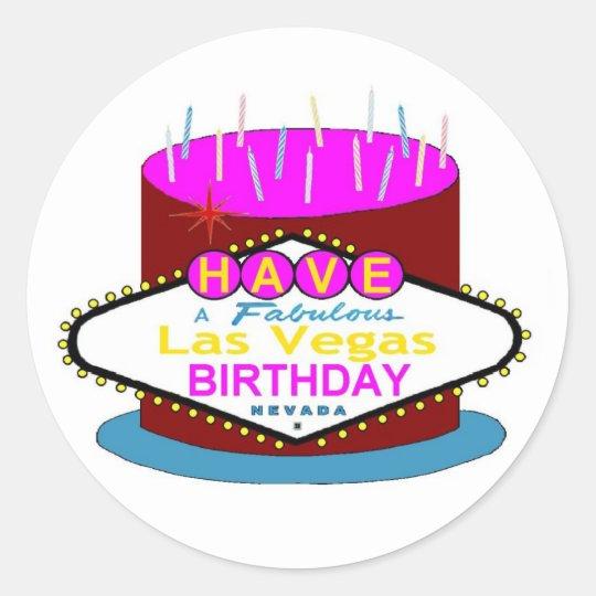 Have A Fabulous Las Vegas Birthday  Cake Sticker